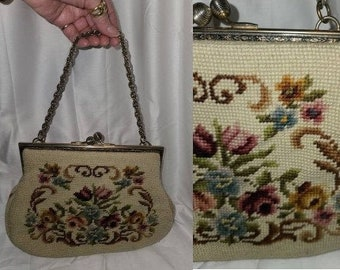 Vintage Tapestry Purse 1950s 60s Beige Tapestry Handbag Silver Chain Handle Unique Large Kiss Lock Rockabilly Mod