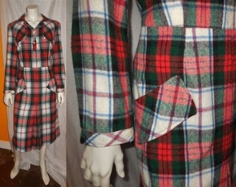 Vintage 1950s 60s Dress Red Green White Plaid Wool Winter Pencil Dress Rockabilly L XL chest and hips to 42 in.