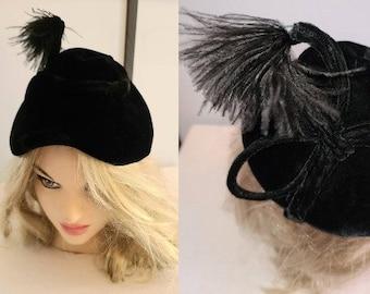 Vintage Asymmetric Hat 1930s 40s Black Velvet Cone Hat Tall Marabou Feather Ornament Art Deco Film Noir 21.5 inches
