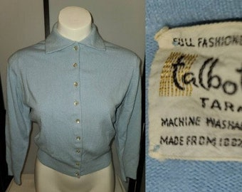 Vintage 1950s Sweater Light Blue Talbotts Taralan Full Fashioned Orlon Cardigan Sweater Rockabilly Pinup S chest 37 in.