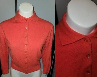 Vintage 1950s Sweater Coral Orange Pink Talbotts Taralan Full Fashioned Orlon Cardigan Sweater Rockabilly Pinup S M chest 37.5 in.