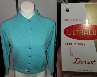 DEADSTOCK Vintage Sweater 1950s Turquoise Blue Dorset Full Fashioned Orlon Cardigan Sweater Unworn NWT Rockabilly Pinup M 38