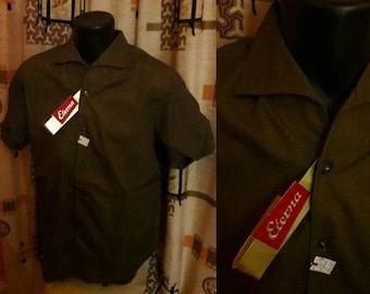 Unworn Vintage Men's Shirt 1950s Dark Brown Short Sleeve Shirt Notched Collar NWT Dress Shirt Eterna German Rockabilly M