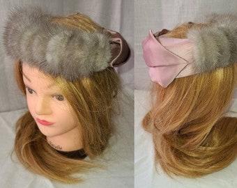 Vintage Fur Hat 1950s Silver Mink Fur Ring Hat Mauve Pink Satin Ribbon Cocktail Hat Rockabilly 22 in.