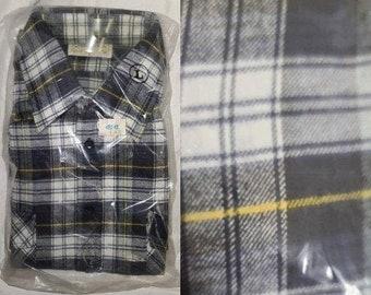 DEADSTOCK Vintage Men's Shirt 1990s Andhurst Green Black White Yellow Plaid Cotton Flannel Shirt Unworn NWT Grunge Rockabilly L