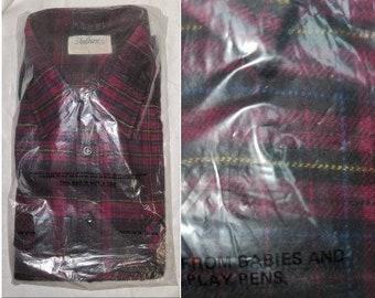 DEADSTOCK Vintage Men's Shirt 1990s Andhurst Red Black Yellow Blue Plaid Cotton Flannel Shirt Unworn NWT Grunge Rockabilly L
