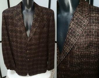Vintage Men's Jacket 1950s Lightweight Brown Black Wool Abstract Plaid Blazer Sport Coat Partially Lined Rockabilly M L