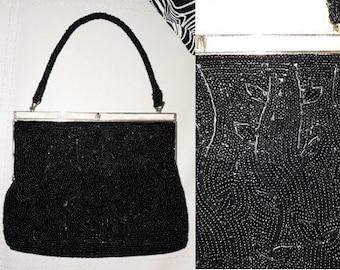 Vintage 1940s 50s Purse Tiny Black Seed Bead Designs Mother of Pearl Trim Evening Bag German Art Deco Rockabilly