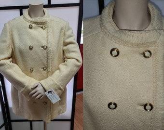 Vintage Wool Jacket 1960s Designer Originala Cream Wool Short Coat Gold Metal Buttons Rockabilly Boho L chest 40 in.