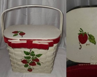 Vintage Strawberry Purse 1960s White Woven Wood Top Open Purse Red Hand Painted Strawberry Design Rockabilly Pinup Boho