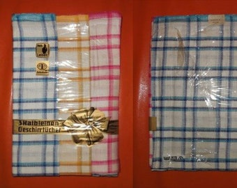 Vintage Dish Towels Unused 1960s 70s German Half Linen Plaid Colored Dish Towels Set of 3 Halb Leinen Geschirrtuecher Rockabilly