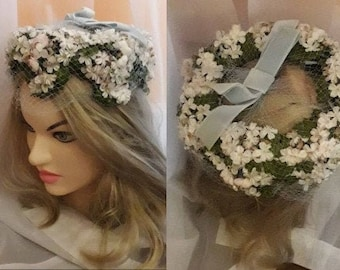 Vintage 1950s Hat White Pink Floral Church Hat Light Blue Velvet Ribbon and Veil Open Hat Half Hat USA Rockabilly 20 in.