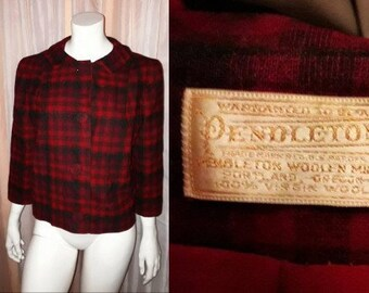 Vintage Pendleton Jacket 1950s Red Black Plaid Wool Cropped Short Jacket Large Buttons USA Rockabilly L chest to 41 in.