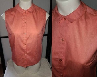Vintage 1950s 60s Blouse Sleeveless Dark Pink Cotton Blend Blouse Small Round Collar Rockabilly M chest 38 in.