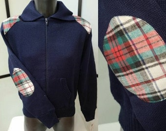 Unworn Vintage Men's 1970s Sweater Dark Blue Acrylic Zipper Cardigan Plaid Elbow Patches Hipster M chest 42 in.