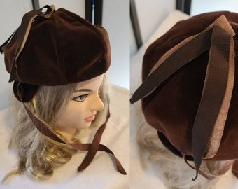 Vintage Velvet Hat 1930s Round Brown Velvet Bonnet Hat Small Ear Flaps Ribbon Ties Art Deco Rockabilly
