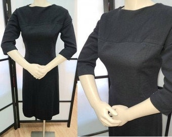 Vintage Wool Dress 1950s 60s Black Wool Pencil Wiggle Dress Long Sleeves Fitted Darted Rockabilly S chest 36 in.