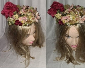 Vintage 1950s Hat Small Red Pink Floral Tilt Hat Roses Garden Party Church Rockabilly