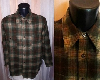 Vintage Men's Pendleton Shirt 1960s 70s Gray Brown Plaid Wool Pendleton Button Down USA Rockabilly Grunge 16 chest to 44 in.