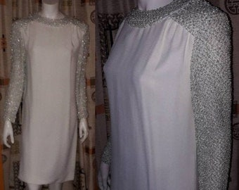 Vintage 1960s Dress White Rayon Crepe Silver Metallic Boucle Collar Sleeves Mod Wedding Bridal M chest to 38 in.