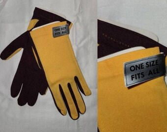 DEADSTOCK Vintage Gloves Unworn 1960s Two Tone Yellow Purple Nylon Stretch Gloves NWT Mod one size