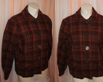 Vintage Women's Blazer 1940s 50s Brown Orange Plaid Wool Jacket Large Buttons Flap Pockets Sears Kerrybrooke USA Rockabilly L chest to 41