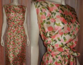 Vintage 1950s Dress Abstract Pink Rose Print Silk Rayon Sheath Wiggle Dress USA Rockabilly M chest hips to 39 in.