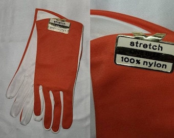 DEADSTOCK Vintage Gloves Unworn 1960s Two Tone Orange White Nylon Stretch Gloves NWT Mod one size