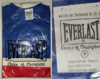 Unworn Vintage Everlast Shirt 1970s Red White Blue Tricot Mesh Shirt Abstract Kangaroo Logo Choice of Champions Boxing NIP M
