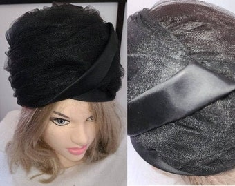 Vintage Bubble Hat 1950s 60s High Round Black Net Tulle Satin Bubble Hat Boho Mod 21.5 inches