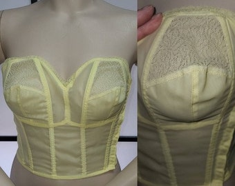 DEADSTOCK Vintage Bra 1950s Light Yellow Nylon Lace Strapless Longline Bra Metal Boning Unworn German Rockabilly Pinup 34 B