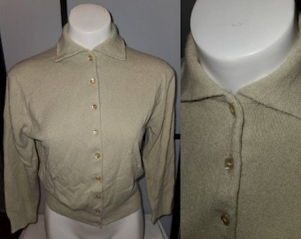 Vintage 1950s Sweater Beige Talbotts Taralan Full Fashioned Orlon Cardigan Sweater Rockabilly Pinup S chest 37 in. some pilling