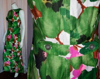 Vintage 1960s Hawaiian Dress Long Pink White Green Abatract Watercolor Floral Cotton Blend Maxi Dress USA Hippie Boho Festival M