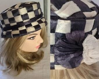 Vintage Mod Hat 1960s Navy Blue White Checkerboard Round Straw Pillbox Hat Bow Russ Russell Original 20.5 in.