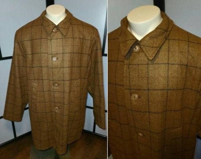 Featured listing image: Vintage Men's Coat Amazing 1940s 50s Butterscotch Wool Windowpane Plaid Short Coat Long Jacket Rockabilly L XL