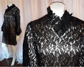 Vintage 1960s Dress Black Lace Nude Illusion Cocktail Dress USA Mod S chest to 35 in.