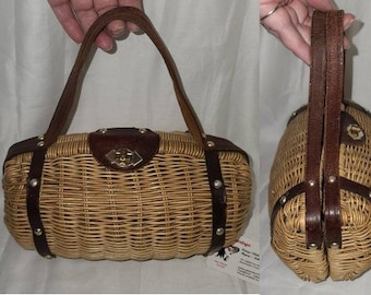 Vintage Wicker Purse Small 1960s 70s Natural Wicker Oxblood Leather Barrel Purse Handbag Pacton Product Boho