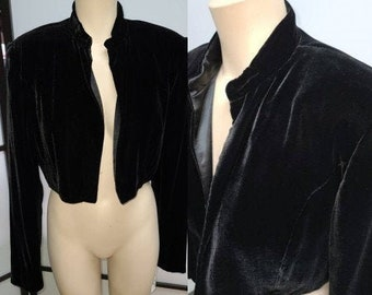 Vintage 1990s Jacket Lush Black Velvet LS Bolero Jacket Jones New York Evening Formal Cocktail Boho 8.