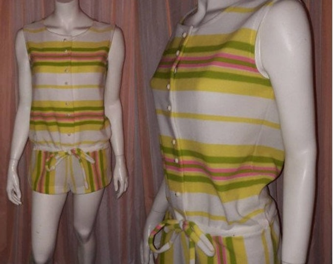Featured listing image: Vintage 1960s Romper Jantzen Bathing Suit Cover Up White Pink Green Yellow Striped Shorts Outfit Beach Playsuit Mod Boho S M