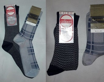 DEADSTOCK Vintage Men's Socks 2 Pair 1960s 70s Nylon Blend Dress Socks Unworn NWT Gray Blue German Rockabilly Mod sz 43-45 11 1/2-12 1/2