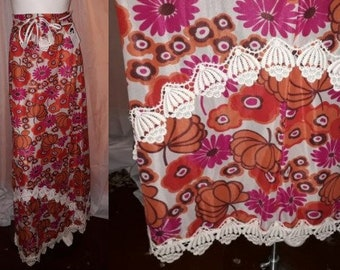 Vintage 1960s Skirt Long Psychedelic Floral Print Nylon Maxiskirt Large Lace Trim Boho Festival S waist to 26 in.
