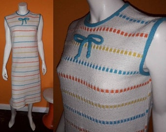 Vintage 1960s Dress Adorable Cream Knit Dress Horizontal Colored Stripes USA Mod Boho L chest to 41 in.
