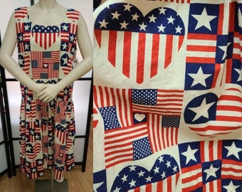 Vintage American Flag Print Dress 1970s 80s Drop Waist Cotton Dress Stars Stripes Hearts Patriotic USA Election Mod Pop L chest to 40 in.