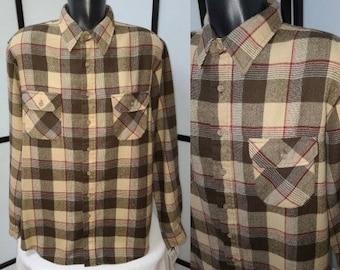 Men's Vintage Shirt 1970s Brown Beige LS Plaid Acrylic Shirt Button Flap Chest Pockets Sears Rockabilly Grunge XL Tall Chest 52 in.
