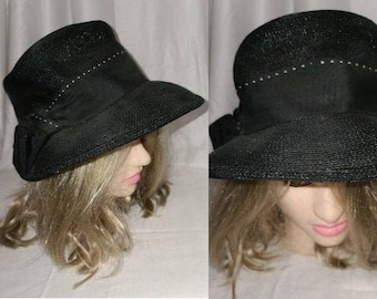 Vintage Black Hat 1950s Black Straw Hat Wide Brim Ribbon Bow Rockabilly Summer Hat 23 in.