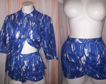 Vintage Beach Outfit 1950s 60s Bathing Suit Cover Up Top and Shorts Blue Abstract Print Swimsuit Cover German Rockabilly M L