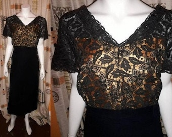 Vintage 1950s Dress Black Open Pattern Lace Bodice Rhinestones Chiffon Skirt Cocktail Dress USA Rockabilly L
