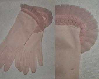 Vintage 1950s Gloves Semi Sheer Light Pink Nylon Gloves Pleats Ruffles Rockabilly 7.5