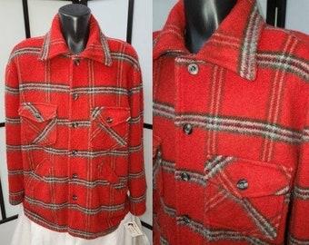 Men's Vintage Shirt Jacket 1950s 60s Heavy Red Fuzzy Plaid Wool Jacket Lined DEA Jacket Canada Lumberjack Rockabilly Grunge XL Chest 52 in.