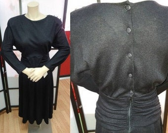 Vintage 1970s 80s Dress Black Acrylic Faux Wool Dress Cummerbund Waist Back Button Full Swingy Skirt Boho M chest 38 in.